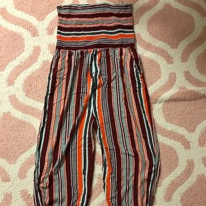 Striped tube top jumpsuit with pockets